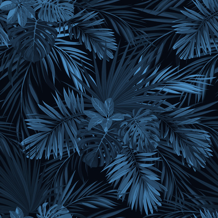 ジャングルの植物と暗い熱帯背景。インディゴ ブルー フェニックスの手のひらでシームレスな熱帯パターンをベクトルの葉します。