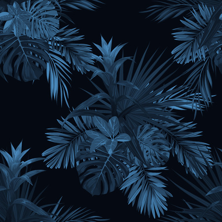 Exotic tropical vector background with hawaiian plants and flowers. Seamless indigo tropical pattern with guzmania flowers, monstera and royal palm leaves.