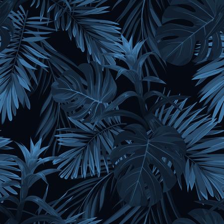 하와이 식물과 꽃 이국적인 열 대 vrctor 배경. 원활한 인디 고 열 대 패턴 monstera 및 sabal 팜 단풍, guzmania 꽃. 일러스트