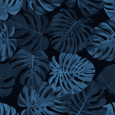 Dark indigo vector pattern with monstera palm leaves on dark background. Seamless summer tropical fabric design.