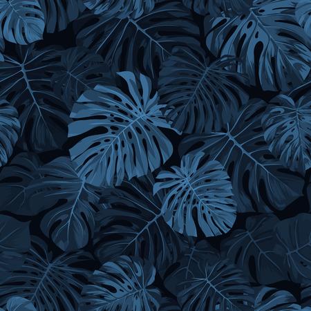 暗い背景にモンステラの手のひらで暗い藍ベクトル パターンを残します。シームレスな夏のトロピカル生地デザイン。