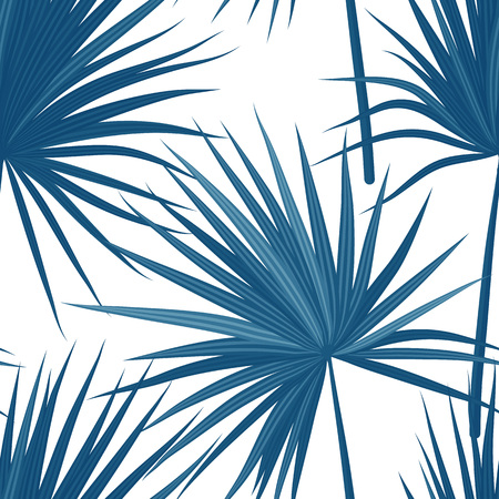 Vector tropical background with jungle plants. Seamless tropical pattern with sabal palm.