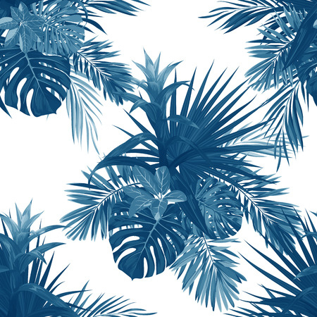 Hand drawn vector seamless tropical floral pattern with guzmania flowers, monstera and royal palm leaves. Exotic hawaiian fabric design.
