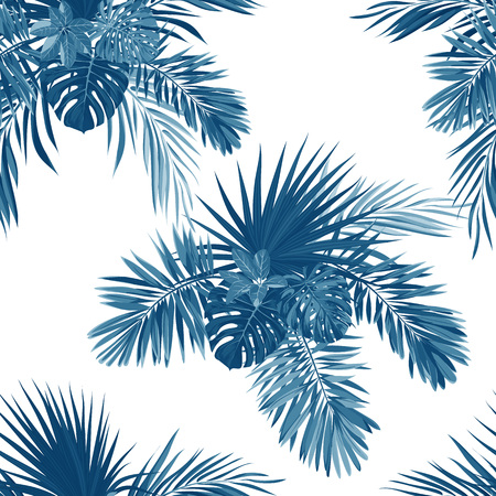 Blue indigo tropical pattern with jungle plants. Seamless tropical fabric design with phoenix palm leaves.