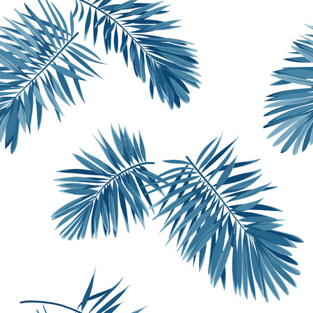 Seamless vector indigo blue pattern with monster palm leaves on dark background.