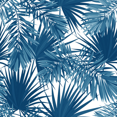 Blue indigo summer tropical camouflage with palm leaves. Seamless vector pattern. Illustration