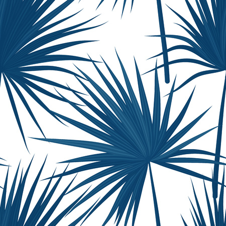 Vector tropical background with jungle plants. Seamless tropical pattern with sabal palm leaves.