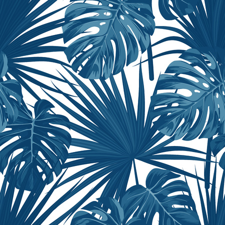 Blue denim floral pattern with exotic plants and palm leaves. Seamless vector fabric design.