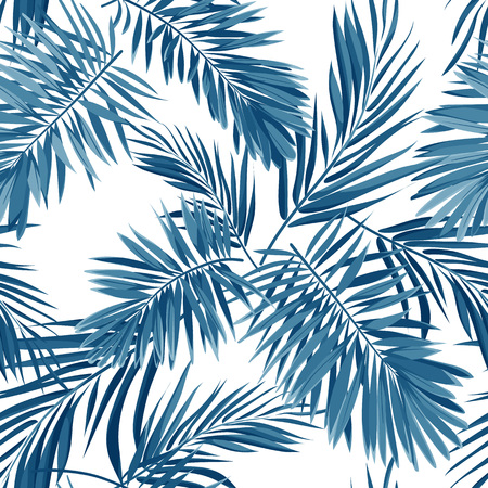 Seamless vector indigo blue pattern with monster palm leaves on dark background. Illustration