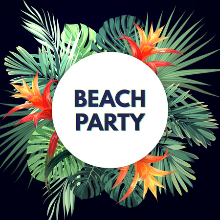 Dark vector tropical background with green plants and guzmania flowers. Exotic summer party flyer design.