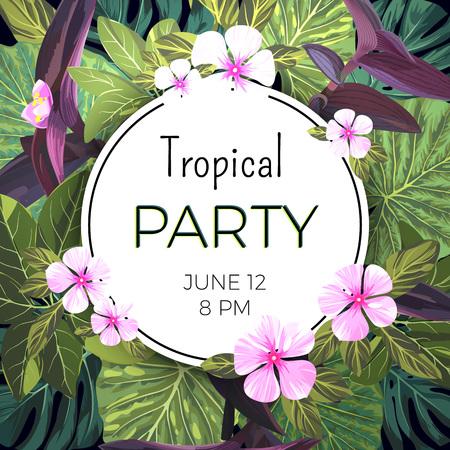 Sommer Hawaiischer Hintergrund Mit Exotischen Palmblättern Und Rosa ...