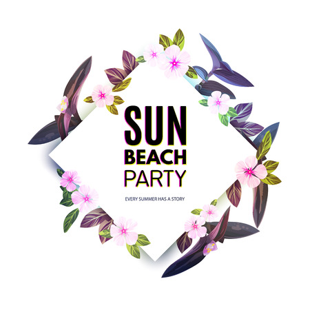 customizable: Customizable vector floral design template for summer beach party. Tropical flyer with pink and purple exotic flowers and plants. Illustration