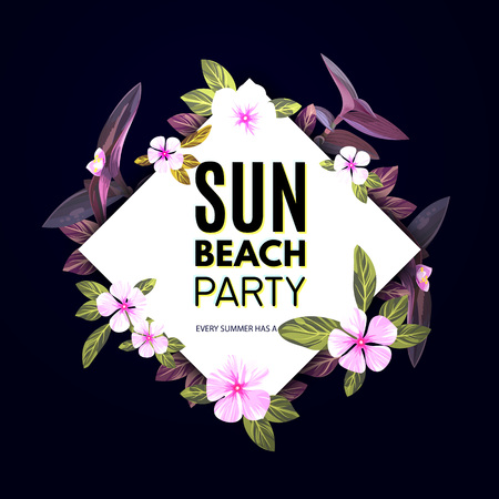 Customizable vector floral design template for summer beach party. Tropical flyer with pink and purple exotic flowers and plants. Illustration
