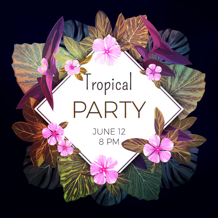 Summer tropical vector background with exotic palm leaves and pink flowers. Jungle floral party flyer template