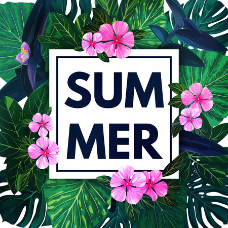 Summer hawaiian background with exotic palm leaves and pink flowers. Tropical vector floral template. Illustration