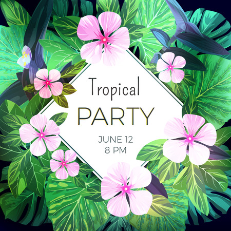 customizable: Customizable vector floral design template for summer party. Bright green ropical flyer with pink exotic flowers and palm leaves.