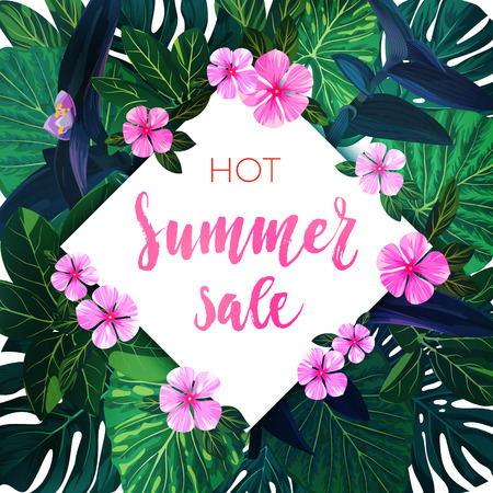 Summer tropical sale design with exotic palm leaves and pink flowers. Jungle vector floral template. Illustration
