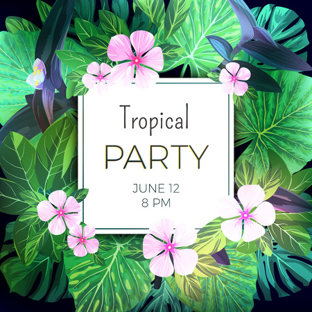 Helle Vektor Floral Banner Vorlage Für Sommer Strand Party ...