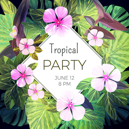 rhomb: Customizable vector floral design template for summer party. Tropical flyer
