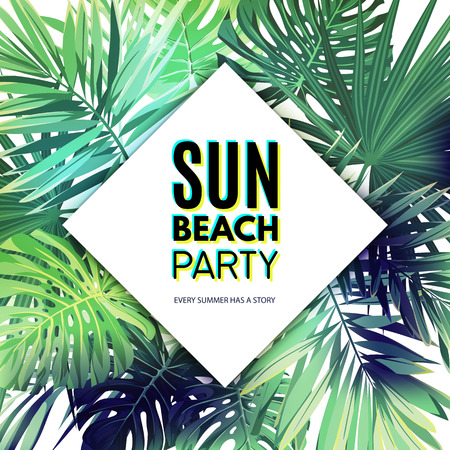 rhomb: Green summer tropical background with exotic palm leaves and plants. Vector floral party flyer template.