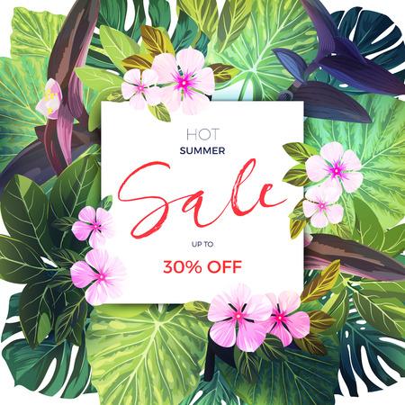 Tropischer Verkauf Des Sommers Entwurf Mit Exotischen Palmblättern ...