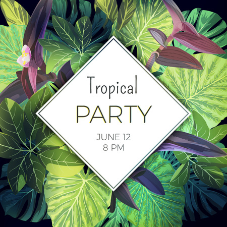 rhomb: Summer tropical party flyer template with palm leaves and exotic purple flowers. Vector floral background.