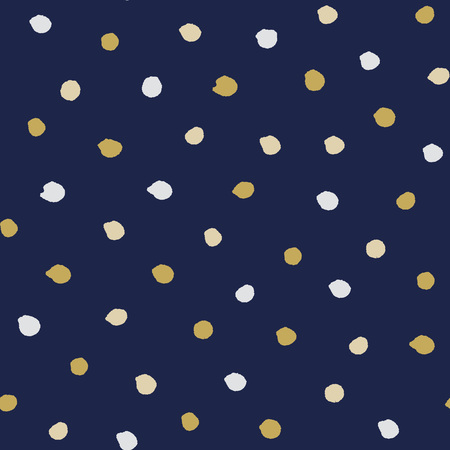 mess: Seamless modern dark blue vector doodle circle dot texture, dry brush ink art.