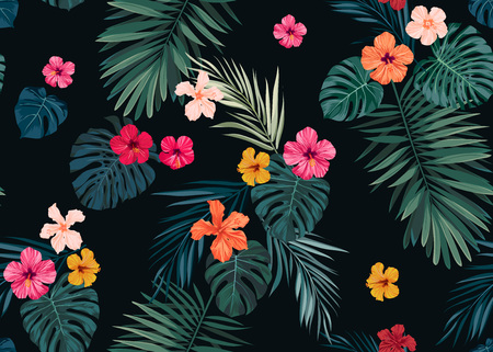 Seamless hand drawn tropical vector pattern with bright hibiscus flowers and exotic palm leaves on dark background.