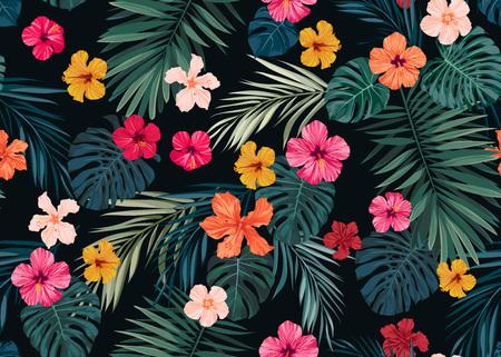 暗い背景に明るいハイビスカスの花やエキゾチックなヤシとシームレスな手描き下ろし熱帯ベクトル パターンを残します。