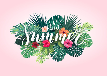 beach party: Summer tropical vector design for banner or flyer with exotic palm leaves, hibiscus flowers and handlettering. Illustration