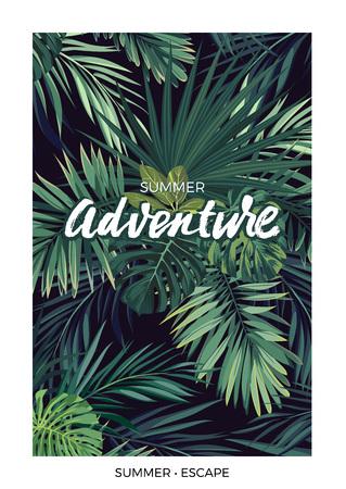 Donker vector tropisch ontwerp met groene jungle palmbladeren en belettering.