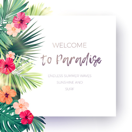 Green summer tropical background with exotic palm leaves and hibiscus flowers. Vector floral background. Banco de Imagens - 81650516