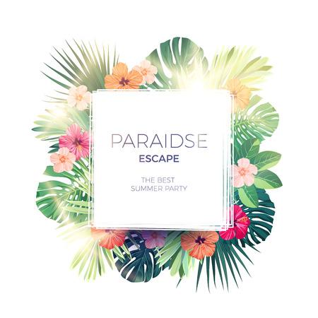 エキゾチックなヤシの葉、ハイビスカスの花と緑の夏の熱帯背景。花のベクトルの背景。  イラスト・ベクター素材