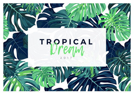 Summer vector tropical design with green monstera palm leaves. Banco de Imagens - 81607628