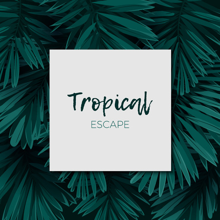 lay: Dark green minimalistic vector design with exotic royal palm leaves.