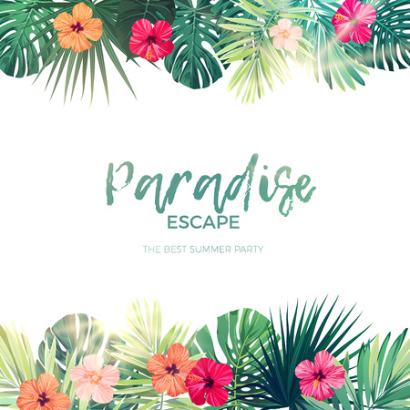 beach sunset: Green summer tropical background with exotic palm leaves and hibiscus flowers. Vector floral background.