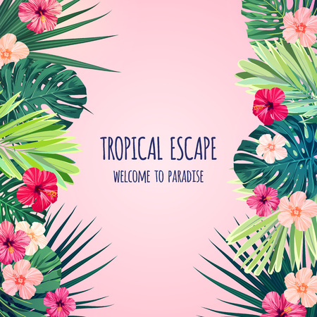 Floral square postcard design with hibiscus flowers, monstera and royal palm leaves. Exotic hawaiian vector background. Banco de Imagens - 81896324