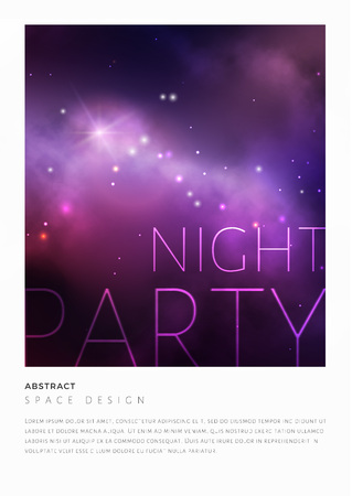 Space party flyer design with colorful violet nebula and bright stars. Vector illustration.