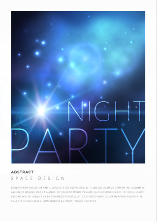 postcard: Space party flyer design with bright blue nebula and white stars. Vector illustration.
