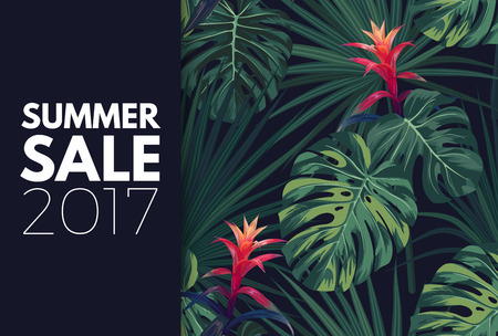 Green tropical sale design with palm leaves and exotic flowers. Vector floral template. Illustration