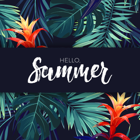 Green summer tropical background with exotic palm leaves and flowers. Vector floral background. Illustration