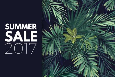 緑の夏の熱帯チラシやエキゾチックなヤシの葉と植物バナー デザイン。花のベクトルの背景。  イラスト・ベクター素材