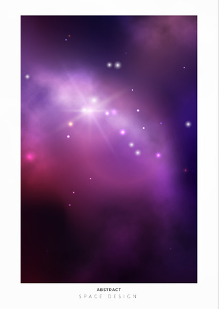 Vector space background with colorful violet nebula and bright stars.