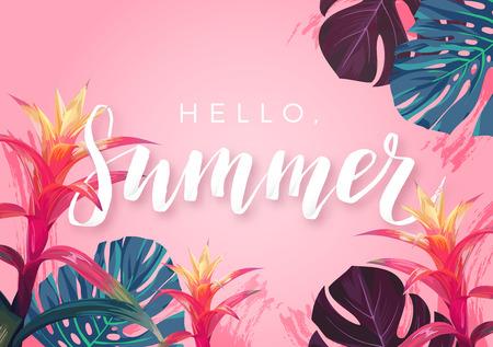 이국적인 야자수 잎, 히비스커스 꽃 및 handlettering 배너 또는 플라이어에 대 한 여름 열 대 디자인.