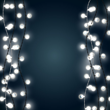 Set of vertical white garland style christmas lights on the dark blue background. Vector design of outdoor patio incandescent light strings.