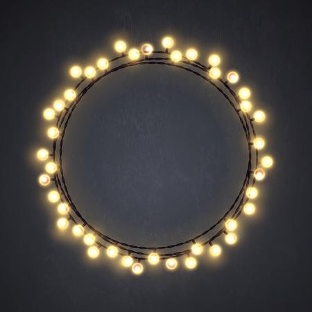 Christmas lights wreath icon.
