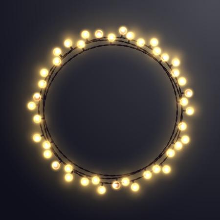 Light string Christmas wreath. Vector decorative design element.