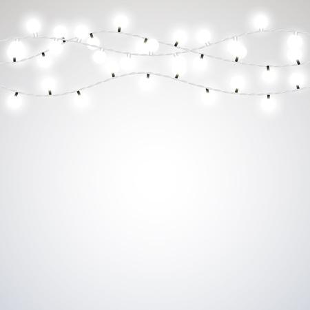 灰色の背景に白いガーランド スタイルのクリスマスの照明。ベクター デザイン要素。
