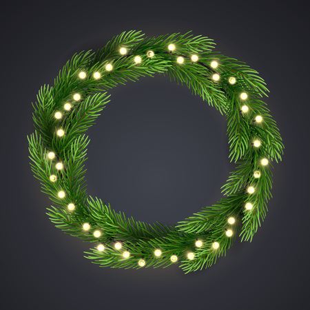 Green christmas wreath with incandescent light string and pine tree branches. Vector template, space for text. Illustration