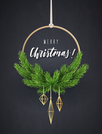 Round New Years wreath with fir branches. Modern Christmas interior decoration, vector illustration.